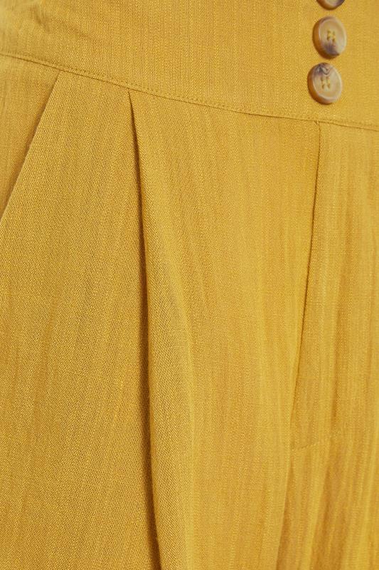 LTS Ochre Yellow Linen Blend Button Pleat Front Culottes_s.jpg