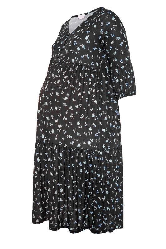BUMP IT UP MATERNITY Black Ditsy Floral Smock Dress_F.jpg