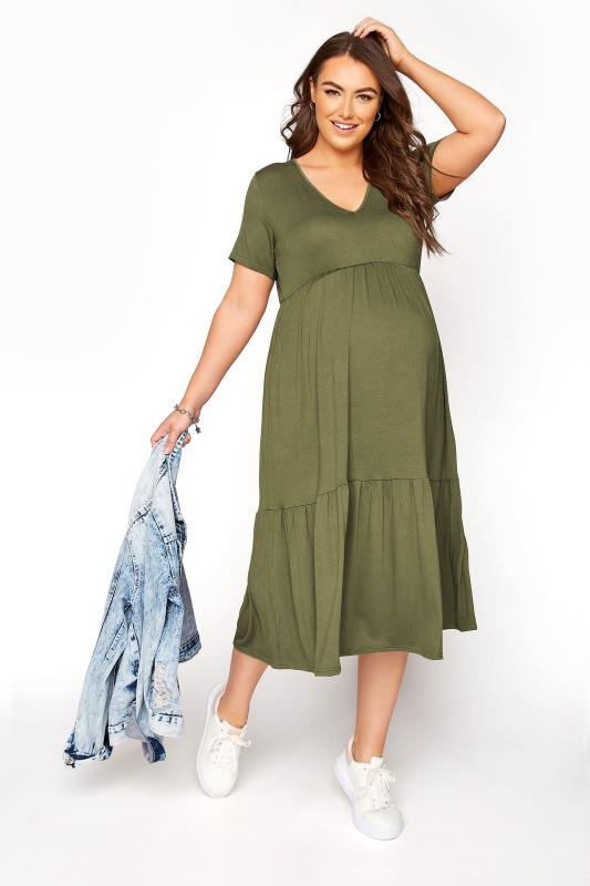 BUMP IT UP MATERNITY Khaki V-Neck Tiered Midi Dress_A.jpg
