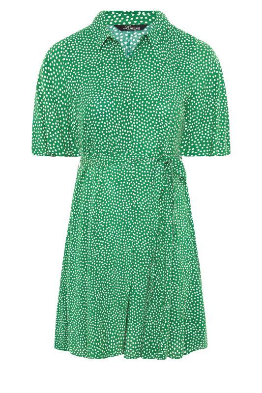 THE LIMITED EDIT Green Polka Dot Shirt Mini Dress_F.jpg