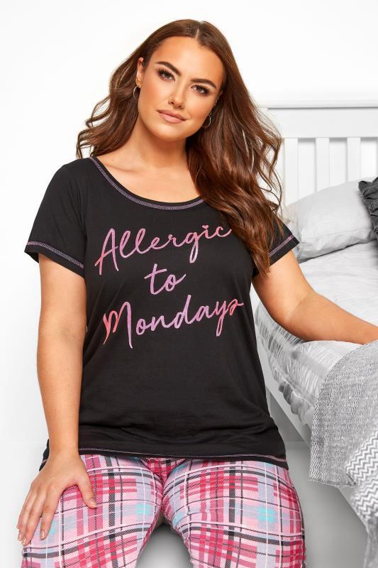 Plus Size Pyjamas Black Glitter 'Allergic To Mondays' Pyjama Top