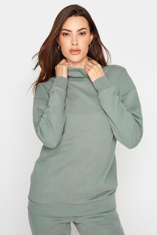 Tall  LTS Sage Green Funnel Neck Sweatshirt