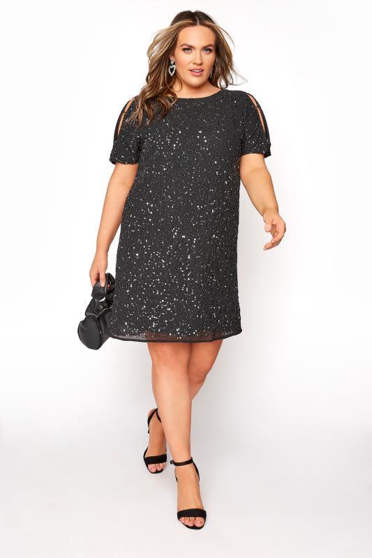 LUXE Black Sequin Cold Shoulder Cape Dress, plus size 16 to 32
