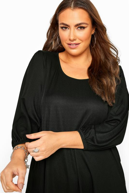 Black Ribbed Balloon Sleeve Swing Top