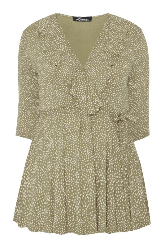 LIMITED COLLECTION Sage Green Ditsy Daisy Print Wrap Top