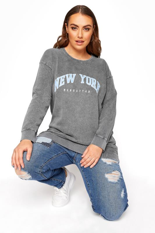 Großen Größen  Grey Acid Wash 'New York' Slogan Sweatshirt