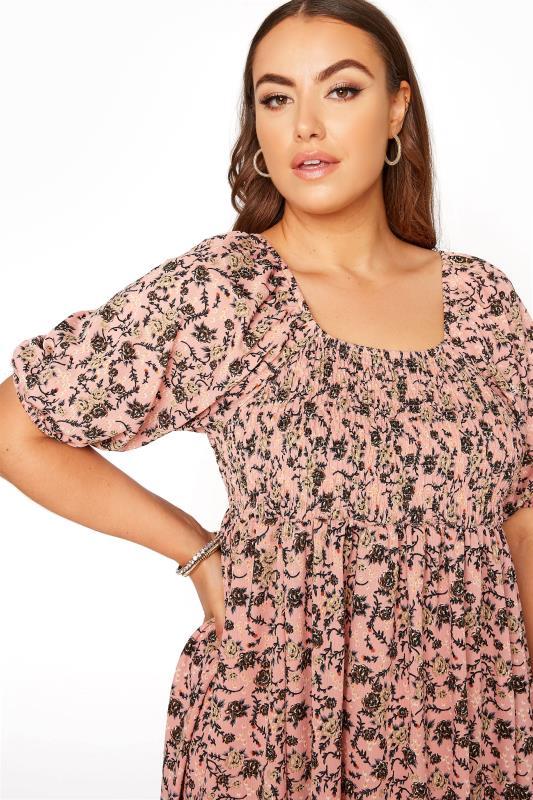 Pink Floral Shirred Front Split Hem Midi Dress_D.jpg