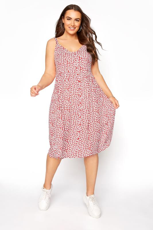 Plus Size  Red Floral  Strappy Button Sundress