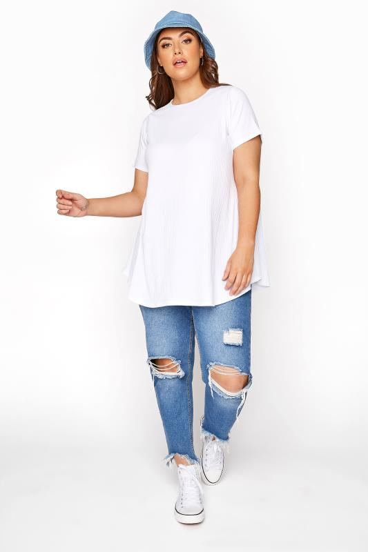 LIMITED COLLECTION White Ribbed Swing T-Shirt_B.jpg