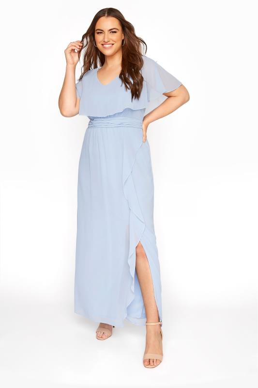 Plus Size  Light Blue Angel Sleeve Maxi Dress
