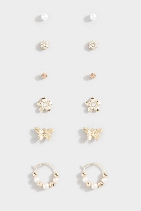 Plus Size Corsage 6 PACK Gold Assorted Butterfly Floral Earrings