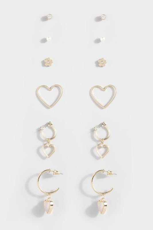 Plus Size Beauty 6 PACK Gold Assorted Heart & Floral Earrings
