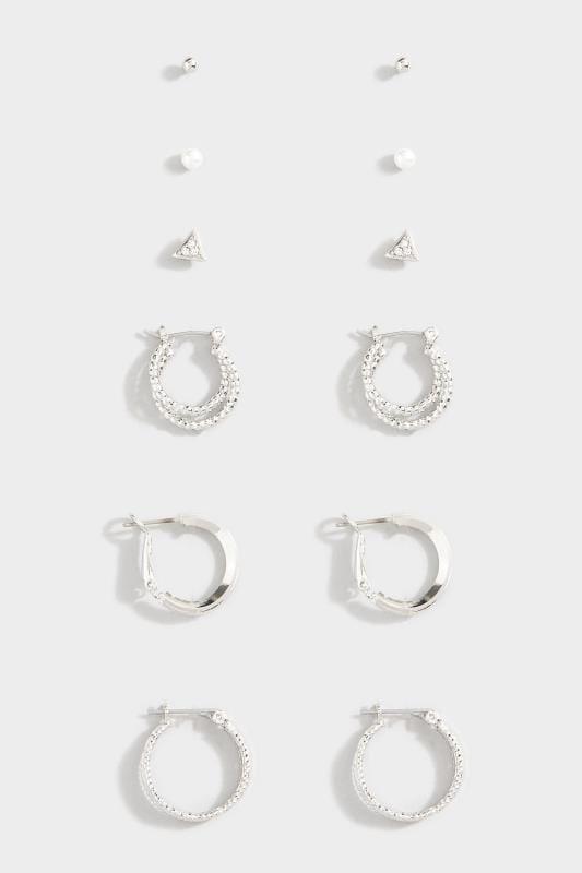 6er Pack verschiedene Ohrstecker - Silberfarben