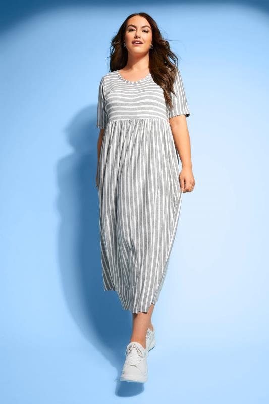 Plus Size  Grey Marl Stripe Dress