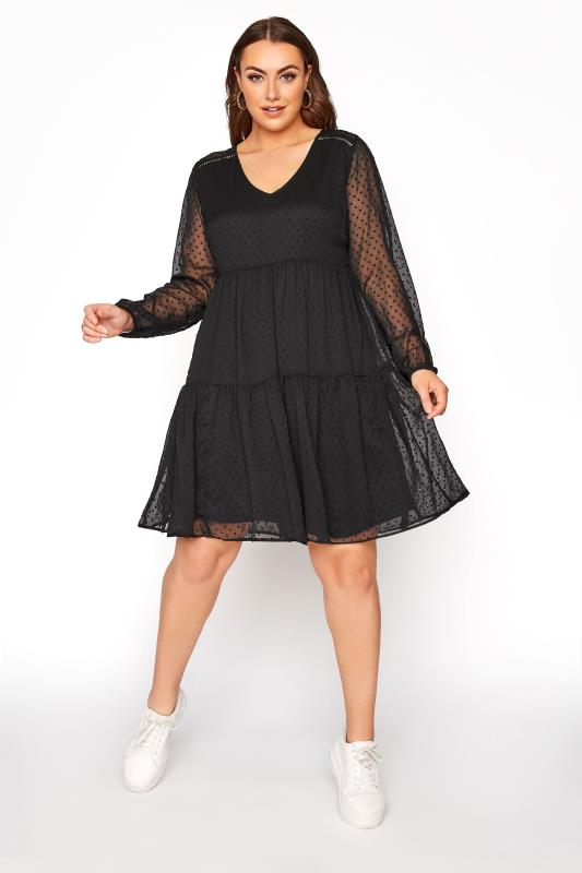 LIMITED COLLECTION Black Dobby Mesh Tiered Dress_B.jpg