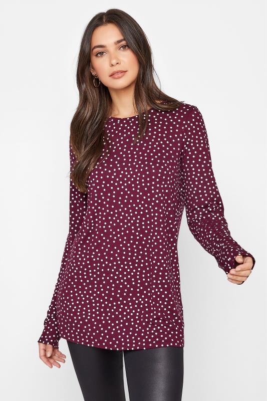 LTS Burgundy Polka Dot Print Long Sleeve T-Shirt_A.jpg