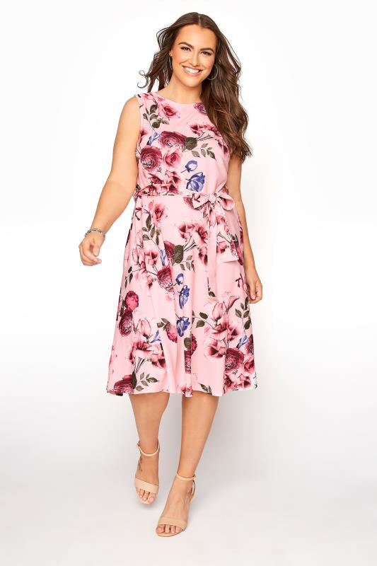 Plus Size  YOURS LONDON Pink Floral Skater Dress