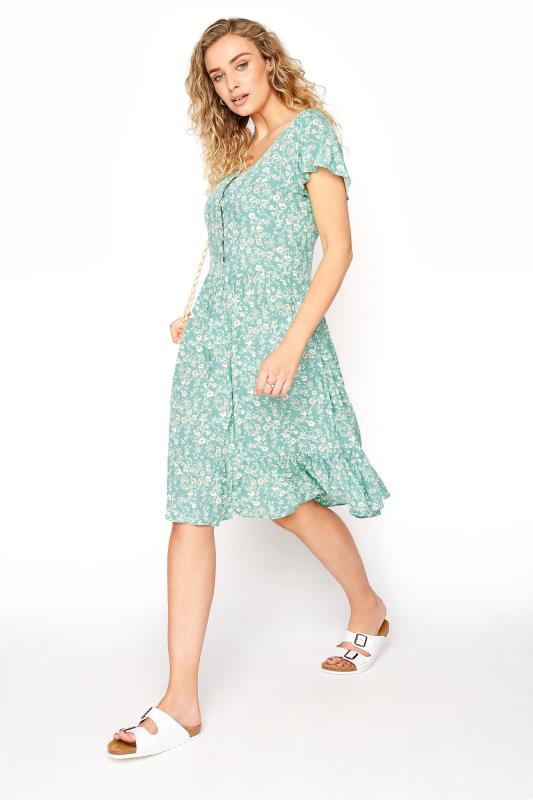 LTS Turquoise Floral Angel Sleeve Dress