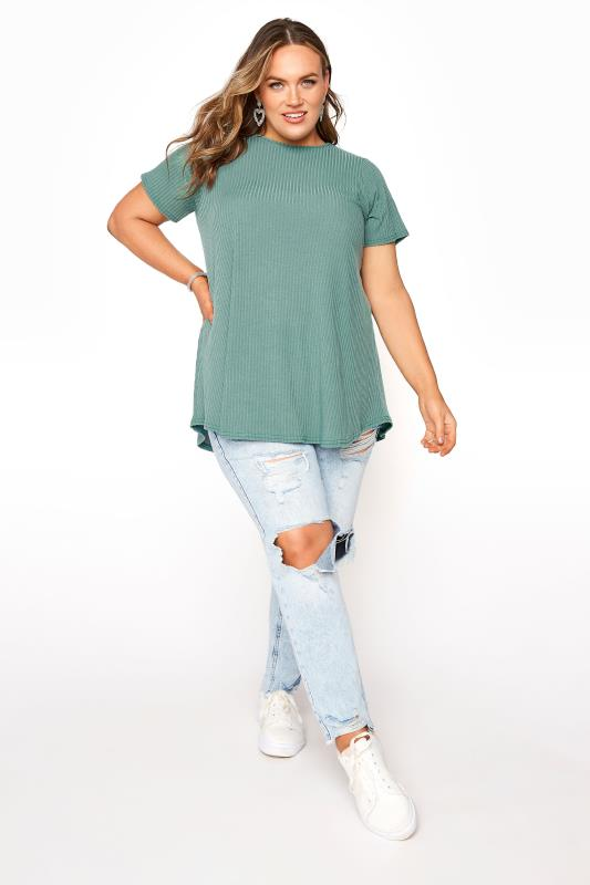LIMITED COLLECTION Forest Green Rib Swing Top_B.jpg