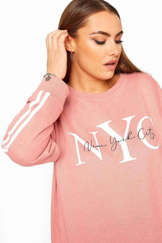 Pink NYC Slogan Varsity Stripe Sweatshirt