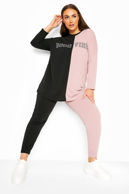 Black & Pink Contrast 'Good Vibes' Co-ord Sweatshirt
