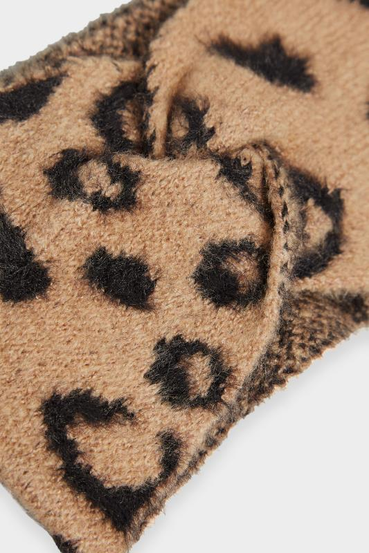 Brown Leopard Print Twist Knot Faux Fur Headband_D.jpg