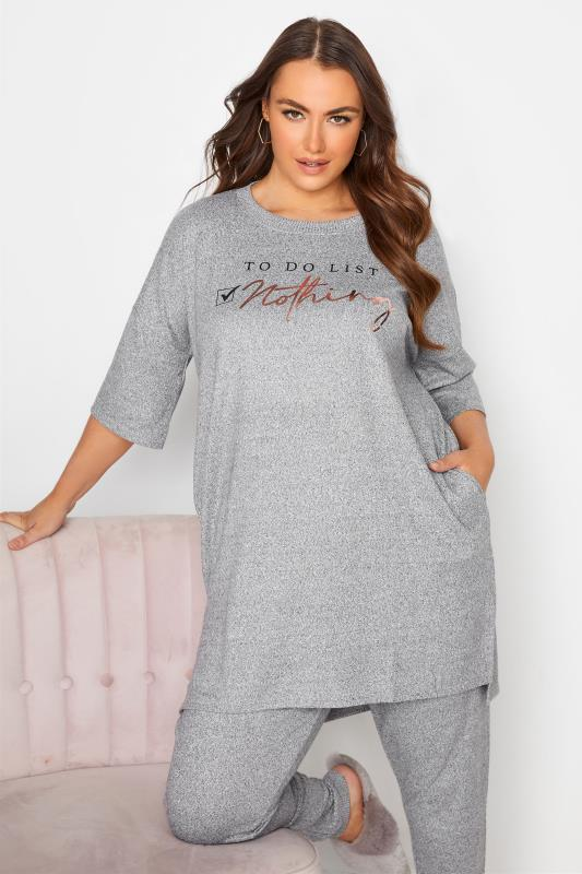 Plus Size  Grey 'To Do List: Nothing' Longline Lounge Top