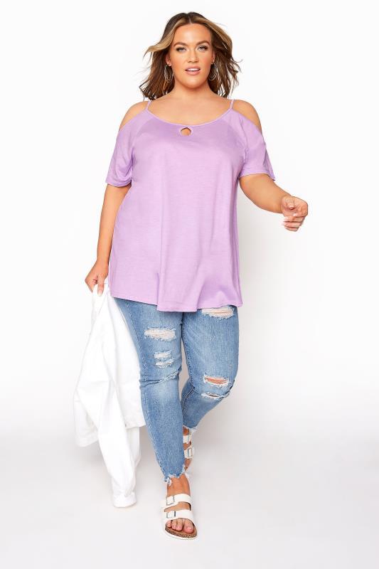 Lilac Strappy Cold Shoulder Top_B.jpg