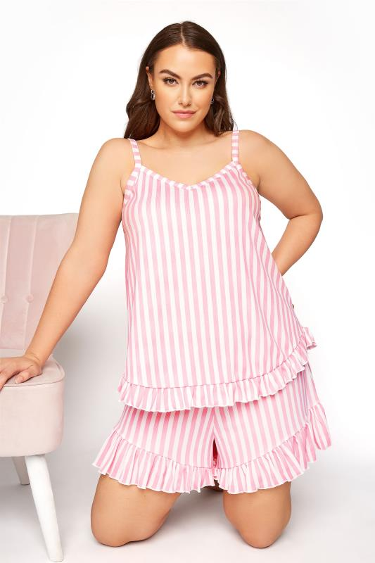 Plus Size  LIMITED COLLECTION Pink Stripe Frill Ribbed Pyjama Shorts