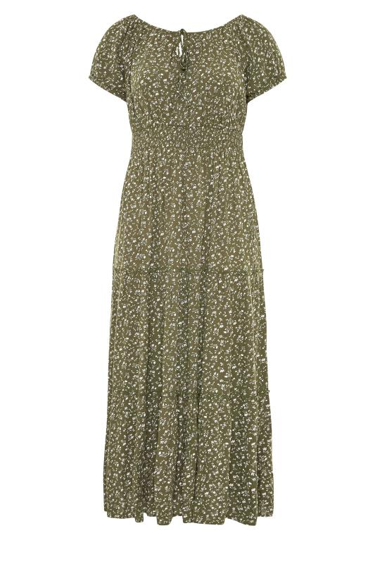 Plus Size  Khaki Ditsy Puff Sleeve Boho Smock Maxi Dress