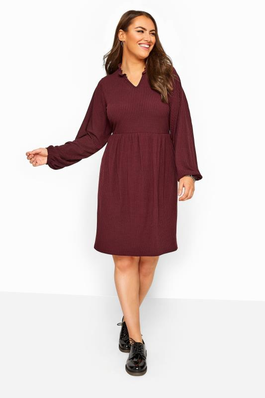 Plus Size Sleeved Dresses Berry Red Ribbed Frill Neck Peplum Dress