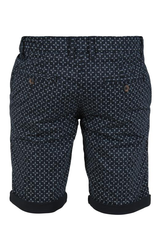 D555 Navy All Over Print Chino Shorts