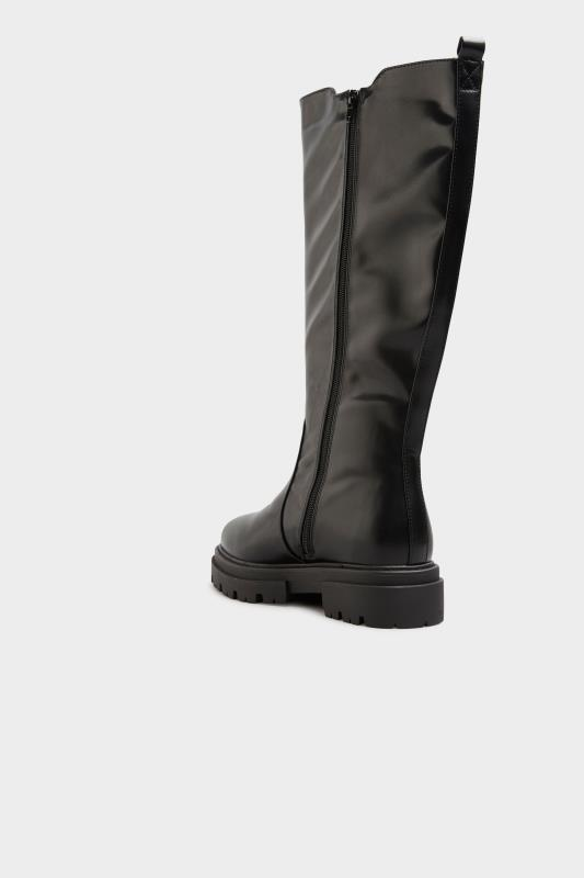 LIMITED COLLECTION Black Elasticated Knee High Cleated Boots In Extra Wide Fit_D.jpg