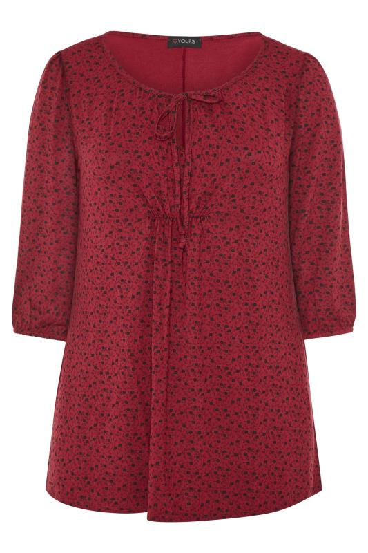 Wine Red Ditsy Floral Print Gypsy Top
