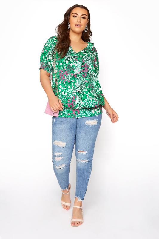 YOURS LONDON Green Floral Shirred Frill Top_B.jpg
