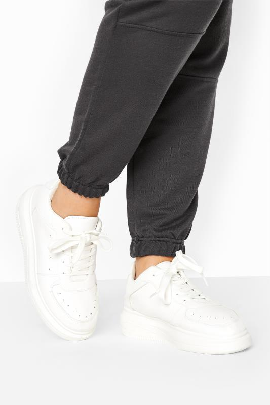 LIMITED COLLECTION White Platform Chunky Faux Leather Trainers In Regular Fit