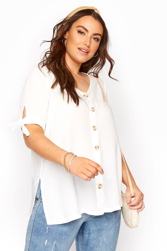dla puszystych White Button Front Tie Sleeve Top