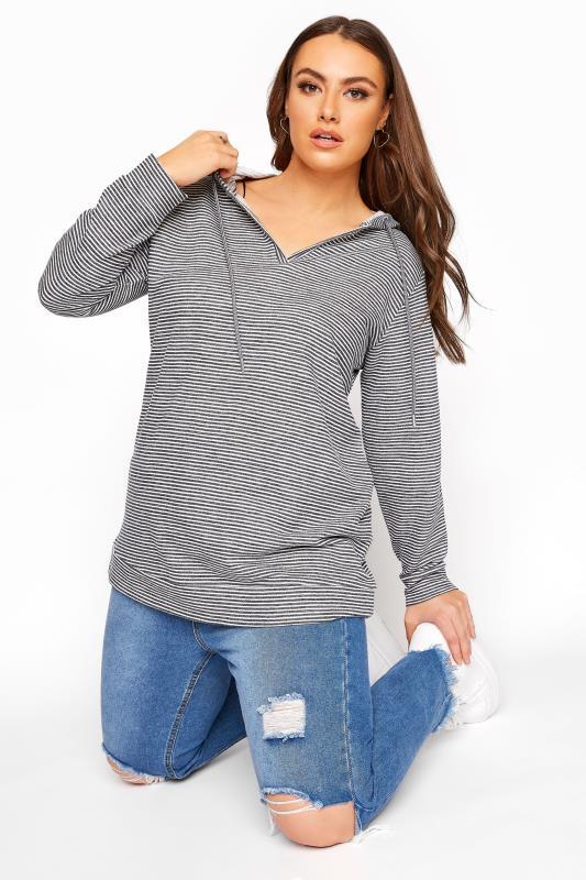 Grey Stripe Cotton Jersey Hoodie