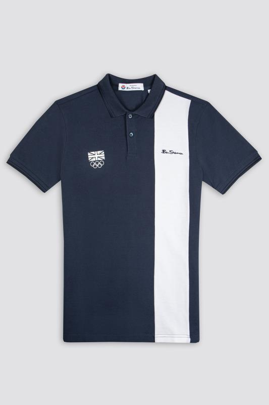 Grande Taille BEN SHERMAN Navy Official Olympic Block Stripe Polo