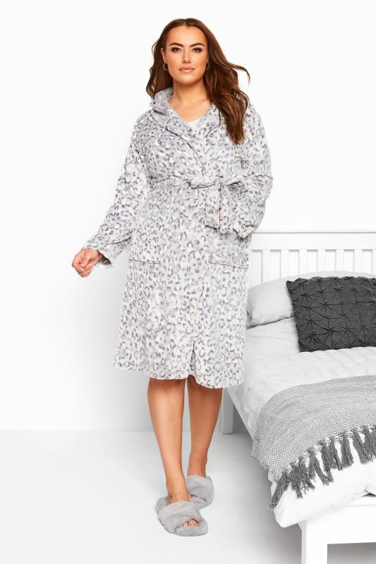Plus Size Dressing Gowns Grey Animal Embossed Dressing Gown