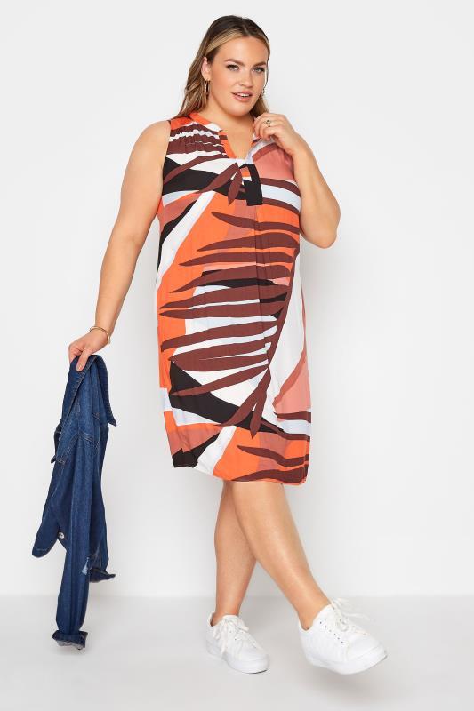 Rust Orange Abstract Midi Dress_B.jpg