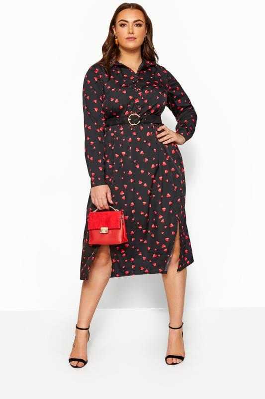 Plus-Größen Black Dresses Black Heart Print Shirt Dress