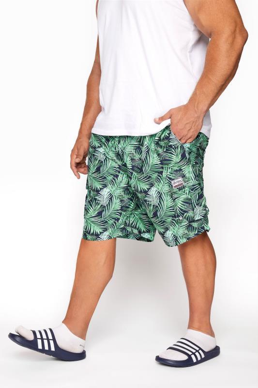 BadRhino Navy Palm Leaf Cargo Swim Shorts_B.jpg