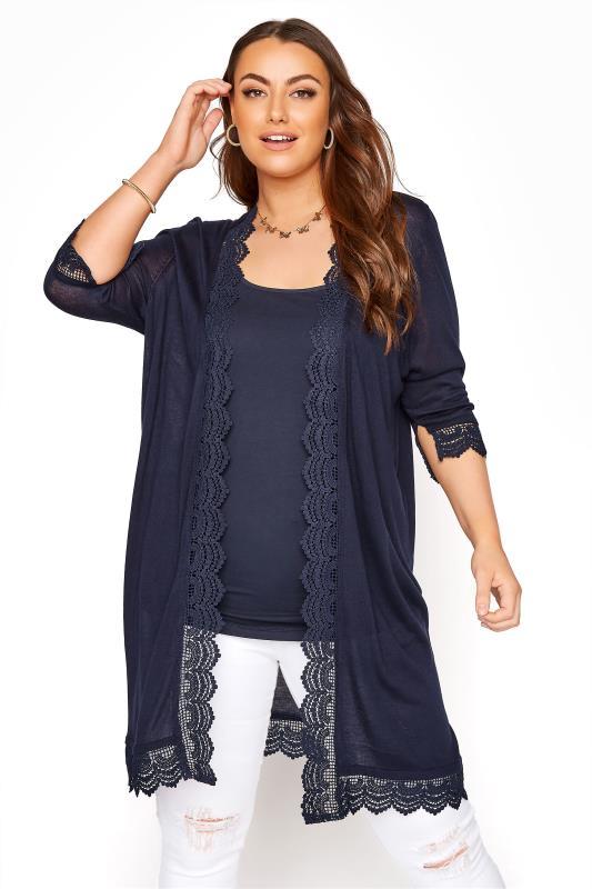Plus Size  Navy Lace Trim Cardigan