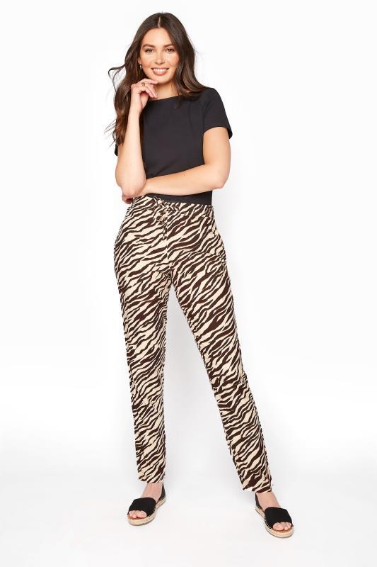Brown Animal Print Lightweight Trousers