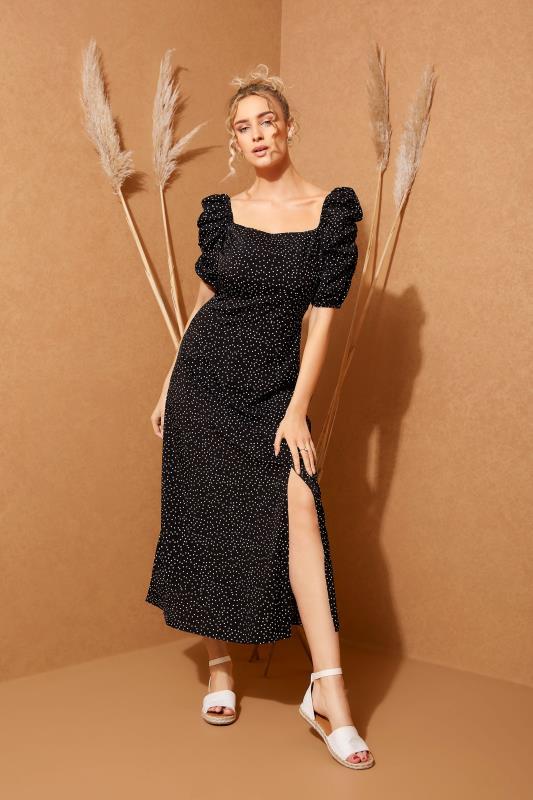 LTS Black Polka Dot Puff Sleeve Midaxi Dress_L.jpg