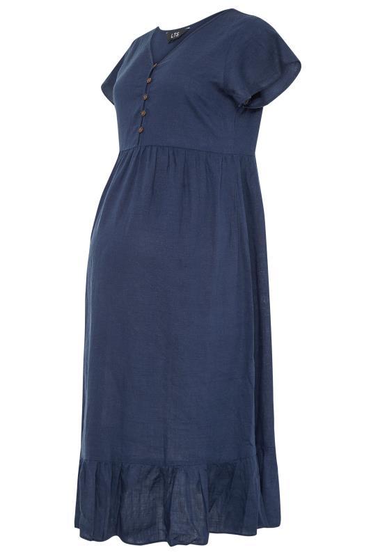 LTS Maternity Navy Linen-blend Dress_F.jpg