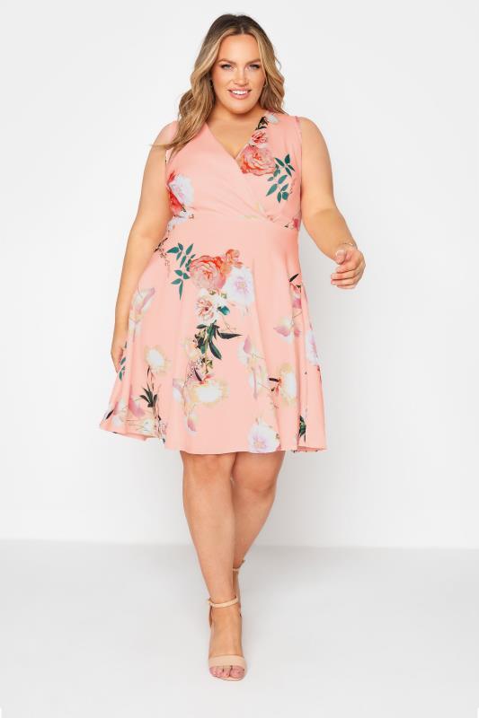 Plus Size  Pink Floral Wrap Skater Midi Dress
