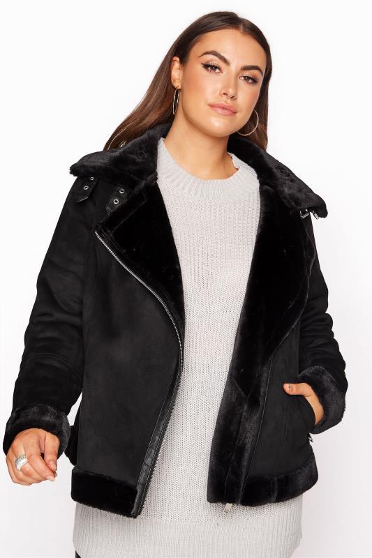 Plus Size  Black Faux Fur Trim Aviator Jacket