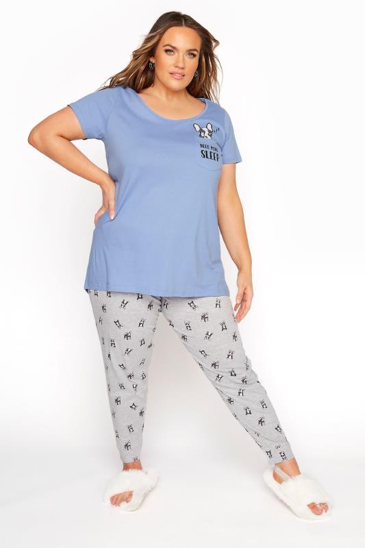Pale Blue 'Need More Sleep' Slogan Pyjama Set_B.jpg